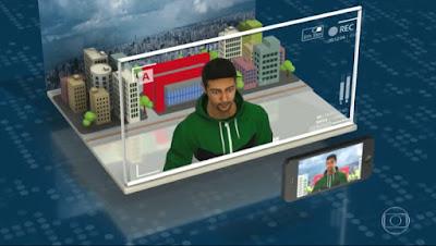 exemplo de gravação do video. Uma simulação em 3D de uma gravação para participar da campanha.