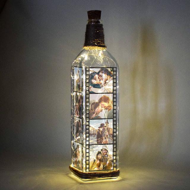 Peri led ışıklı şişe lamba