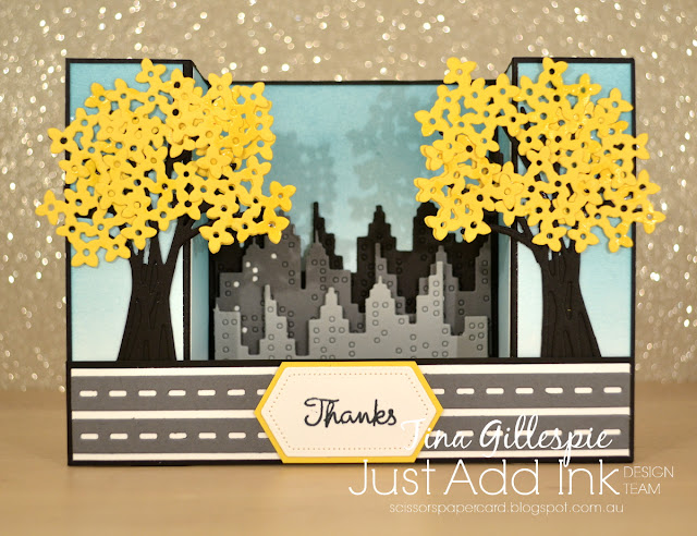 scissorspapercard, Stampin' Up!, Mama Elephant, Varied Vases, Cityscape, Bouquet Bunch, Stitched Nested Labels, Bridge Fold Card