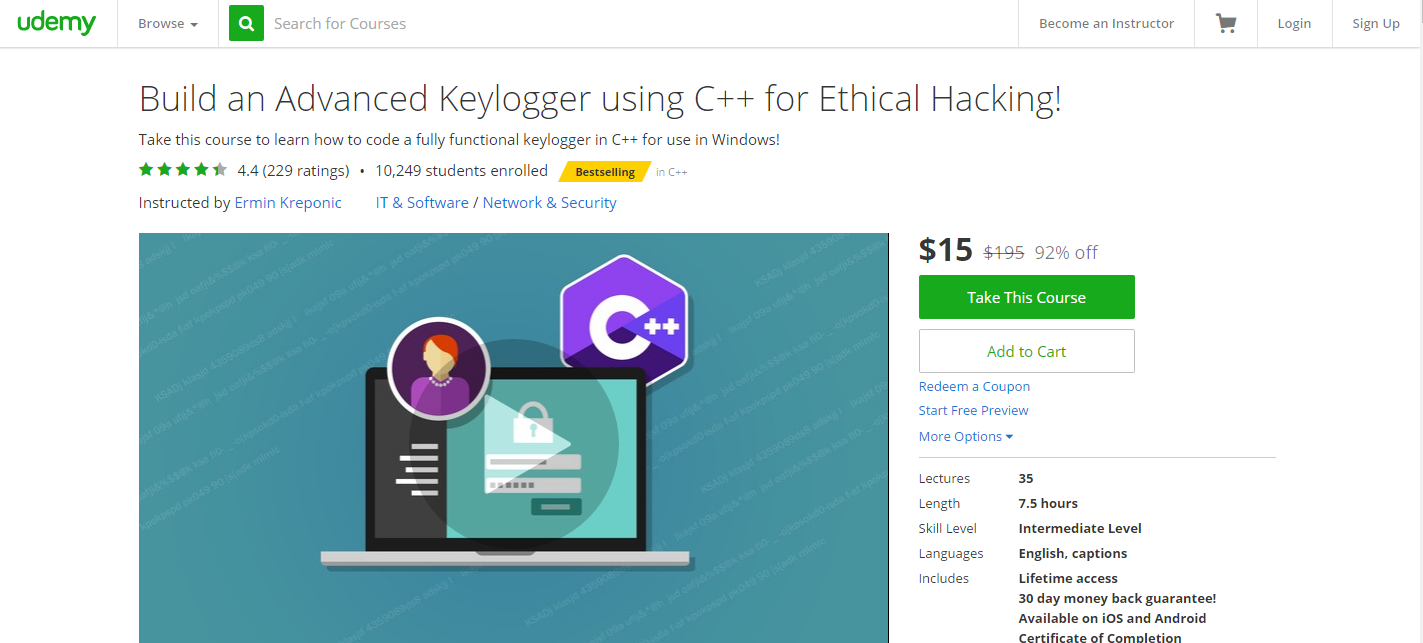 Udemy Course-Build An Advanced Keylogger Using C++ For