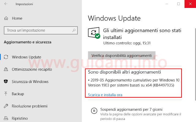 Windows Update Windows 10 notifica Sono disponibili altri aggiornamenti