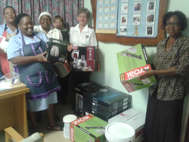 The staff at Naboom Old Aged Homes with all the donations from Hollywoodbets Mookgophong