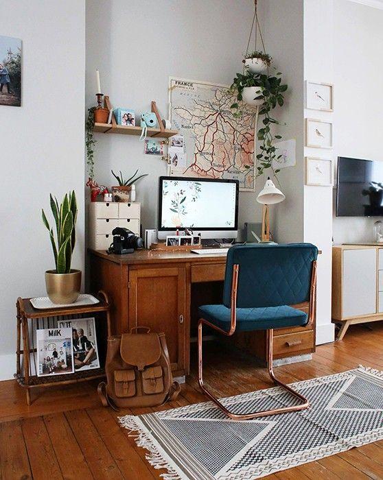 escritorio con decoración escandinava