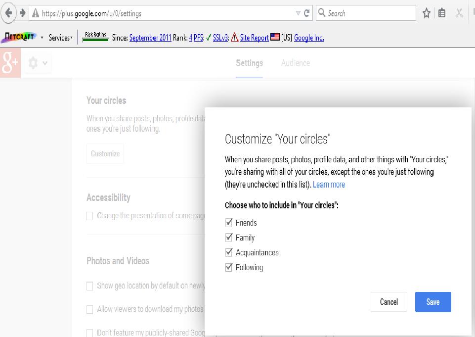 Manage google+ circle