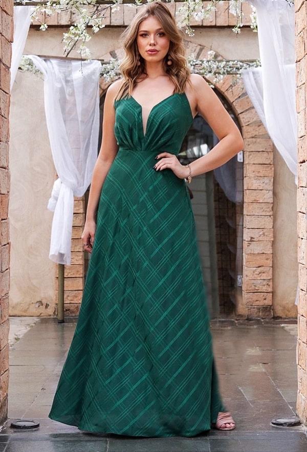 vestido de festa longo verde esmeralda verde bandeira para casamento
