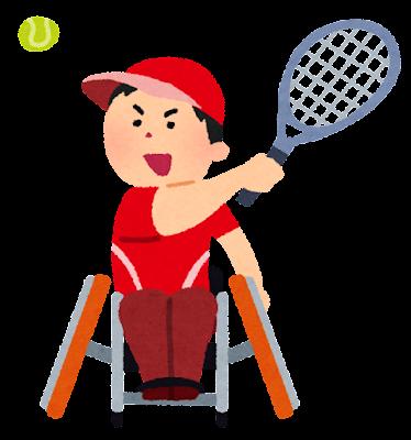 車いすテニスのイラスト(パラリンピック)