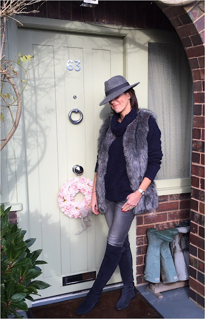 My Midlife Fashion, Faux Fur Gilet, felt trilby Hat, great plains chunky knit boucle roll neck, massimo dutti skinny jeans, clarks caddy belle over the knee boots