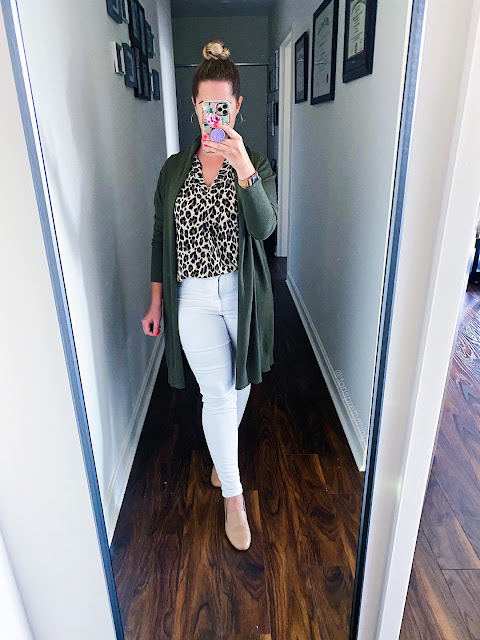 olive cardigan outfit fall, olive green cardigan outfit fall, leopard blouse outfit fall