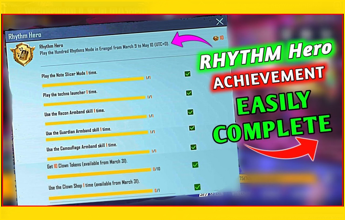 PUBG Mobile 1.3 : Important points to complete Rhythm Hero Mission