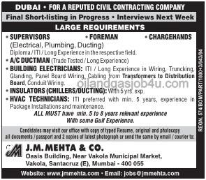 Job vacancies in civil contracting company in Dubai