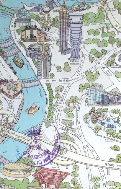 Postcard from China | Mapcard of Huangpu River & Pudong, Shanghai