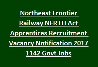 Northeast Frontier Railway NFR ITI Act Apprentices Recruitment Vacancy Notification 2017 1142 Govt Jobs