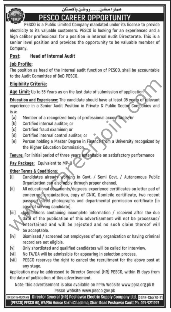 Peshawar Electric Supply Company PESCO Jobs 2021 in Pakistan