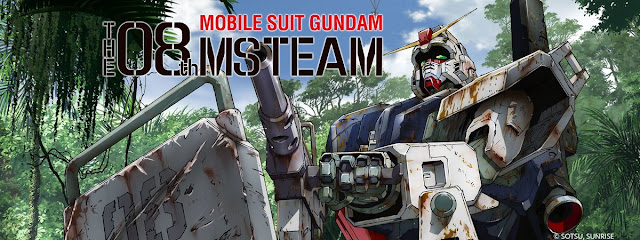Banner a rusty battle mecha gundam robot sitting and holding a gun with text that says Mobile Suit Gundam The 08th MS Team
