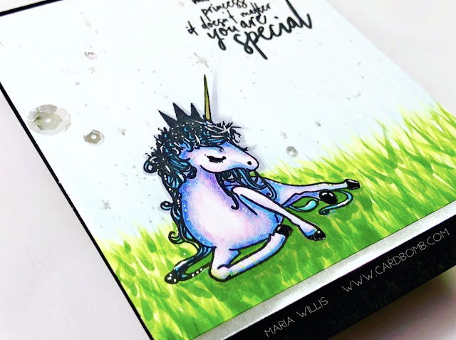 #cardbomb, #mariawillis, #PicketFenceStudios, #unicorn, #cards, #stamp, #ink, #paper, #papercraft, #cardmaking, #handmade, #handmadecards, #magic, #art, #color, #copics, #copicmarkers, coloring, Kylee's Unicorn, Picket Fence Studios,