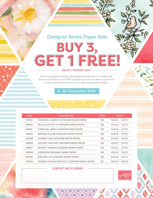 Patterned Paper Sale - Stampin Up - Buy 3 Get One Free