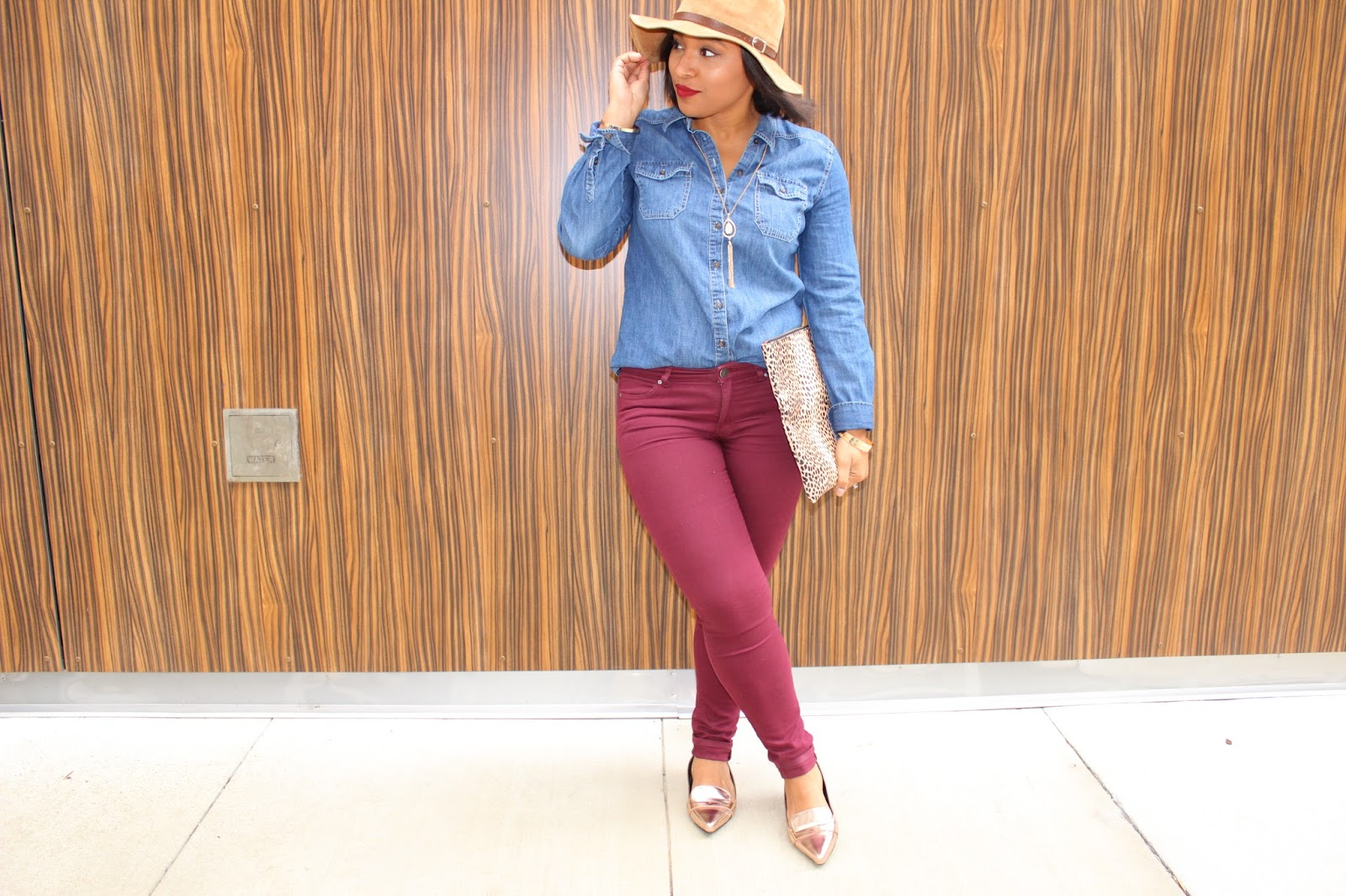 Mandee, hats, fall outfits, denim, forever21, flats, winter hat, fashion blogger, burgundy