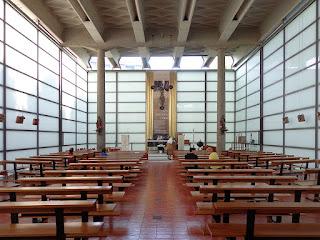 Inside the glass Chiesa di Nostra Signora della Misericordia
