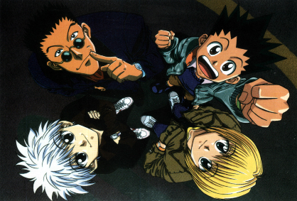 Hunter x Hunter main characters Leorio with dark sunglasses, Killua with white hair, spiky haired Gon with his fist and blonde chain use Kurapika showing power of friendship