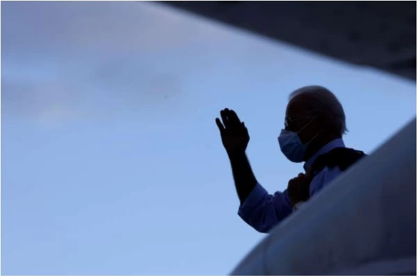 Democratic U.S. presidential nominee and former Vice President Joe Biden departs on campaign travel to Tampa from the airport in Fort Lauderdale