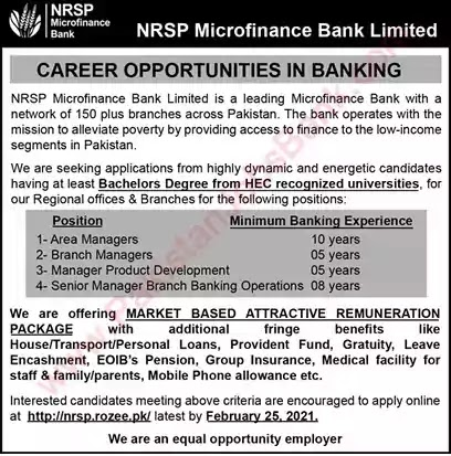 Latest Jobs In Pakistan in NRSP Microfinance Bank Limited Jobs 2021| Apply Online