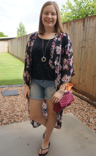sheer floral supre kimono thrifted distressed denim shorts space dye tee rebecca minkoff edie bag | awayfromblue