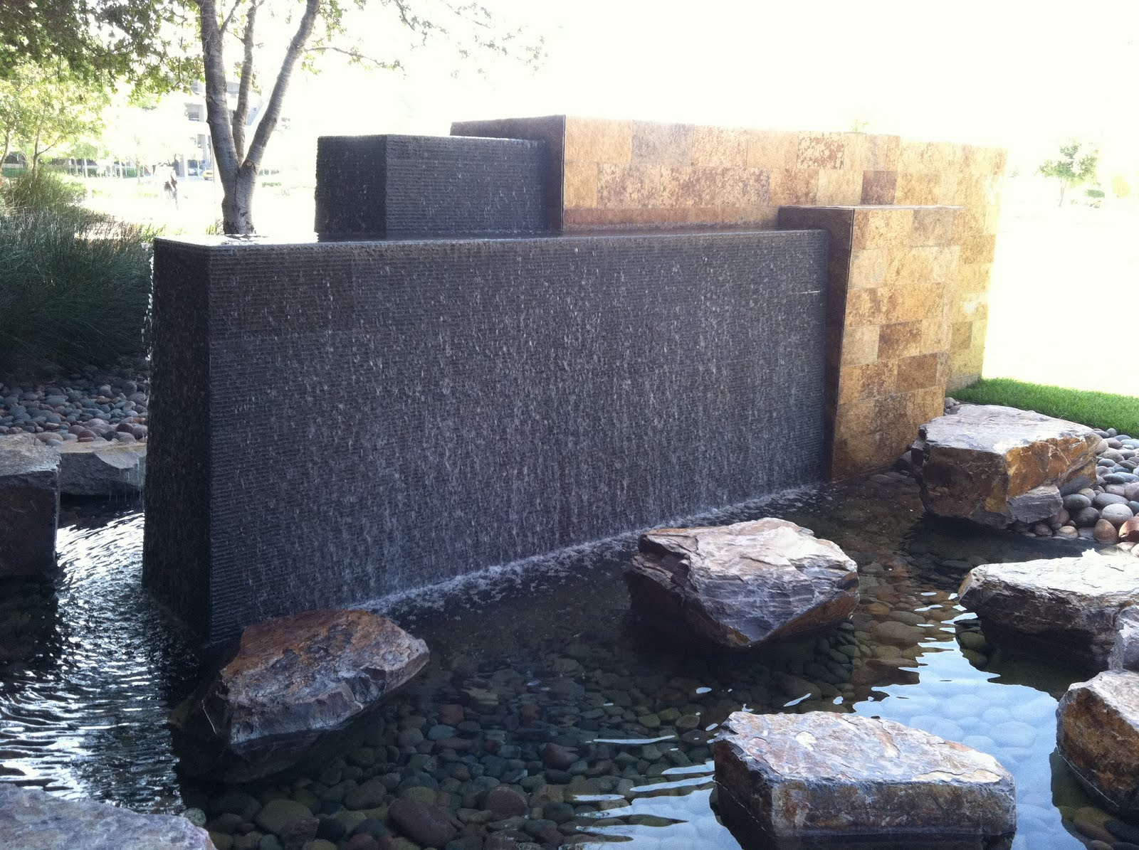 Modern fountain » Sage Outdoor Designs on Modern Backyard Water Feature id=12735