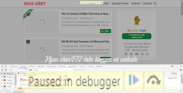 Ngăn chặn F12 trên blogger và website đóng băng trình duyệt