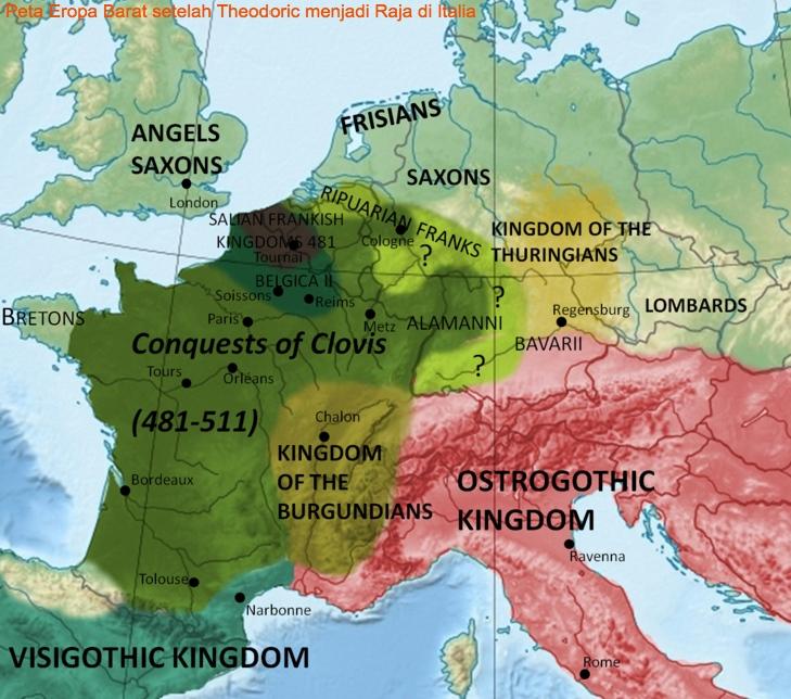 Eropa Barat setelah Theoderic menjadi raja di Italia