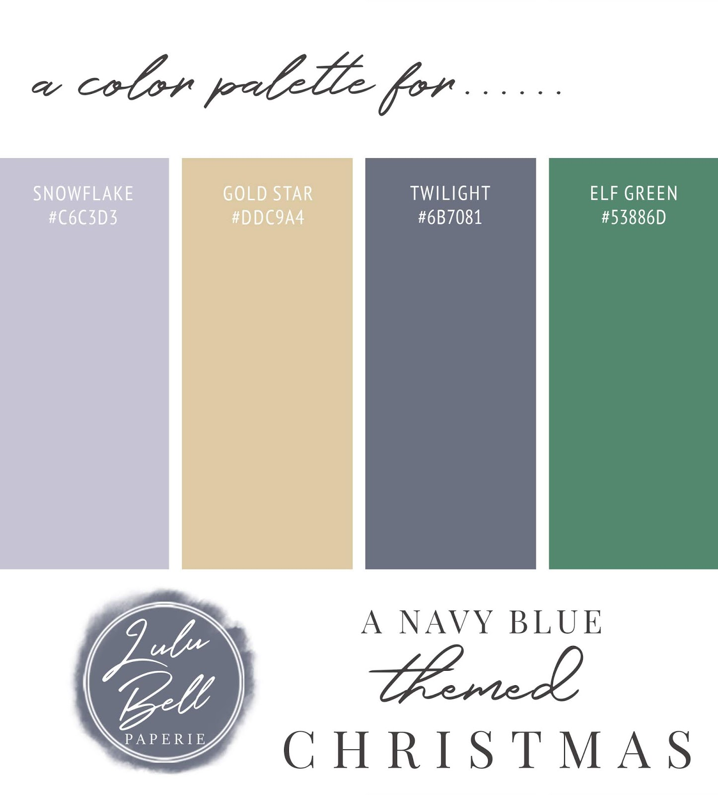 Navy Blue, Gold, Dusty Blue, and Green Christmas Color Palette Swatch Card : Snowflake, Gold Star, Twilight, and Elf Green