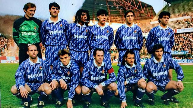 REAL VALLADOLID Temporada 1991-92. Ravnic, Caminero, Vicente Engonga, César Gómez, Santi Cuesta, Fonseca; Pachi, Cuaresma, Minguela, Patri y Aragón. REAL SPORTING DE GIJÓN 1 REAL VALLADOLID 0. 02/02/1992. Campeonato de Liga de 1ª División, jornada 20. Gijón, Asturias, estadio El Molinón (17.500 espectadores). GOLES: 1-0: 55', Luhový.