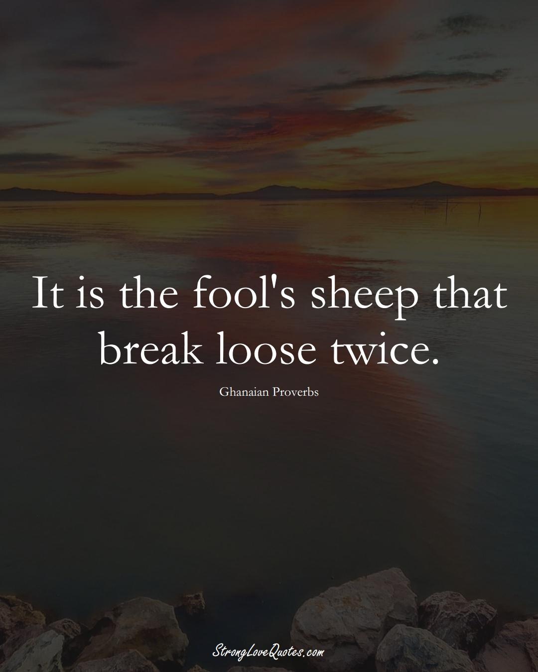 It is the fool's sheep that break loose twice. (Ghanaian Sayings);  #AfricanSayings