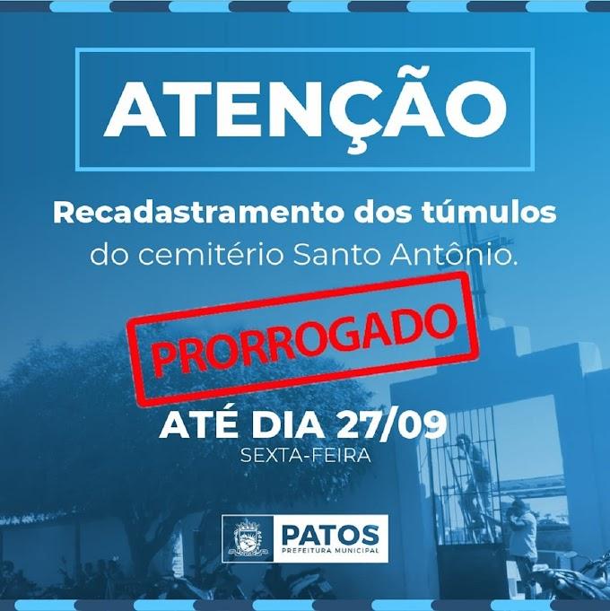 Prefeitura de Patos prorroga prazo para recadastramento de túmulos do cemitério Santo Antônio