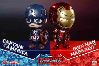Captain America: Civil War Cosbaby Vinyl Figure Bobble Head Collectible Box Set by Hot Toys - Captain America & Iron Man Mark XLVI