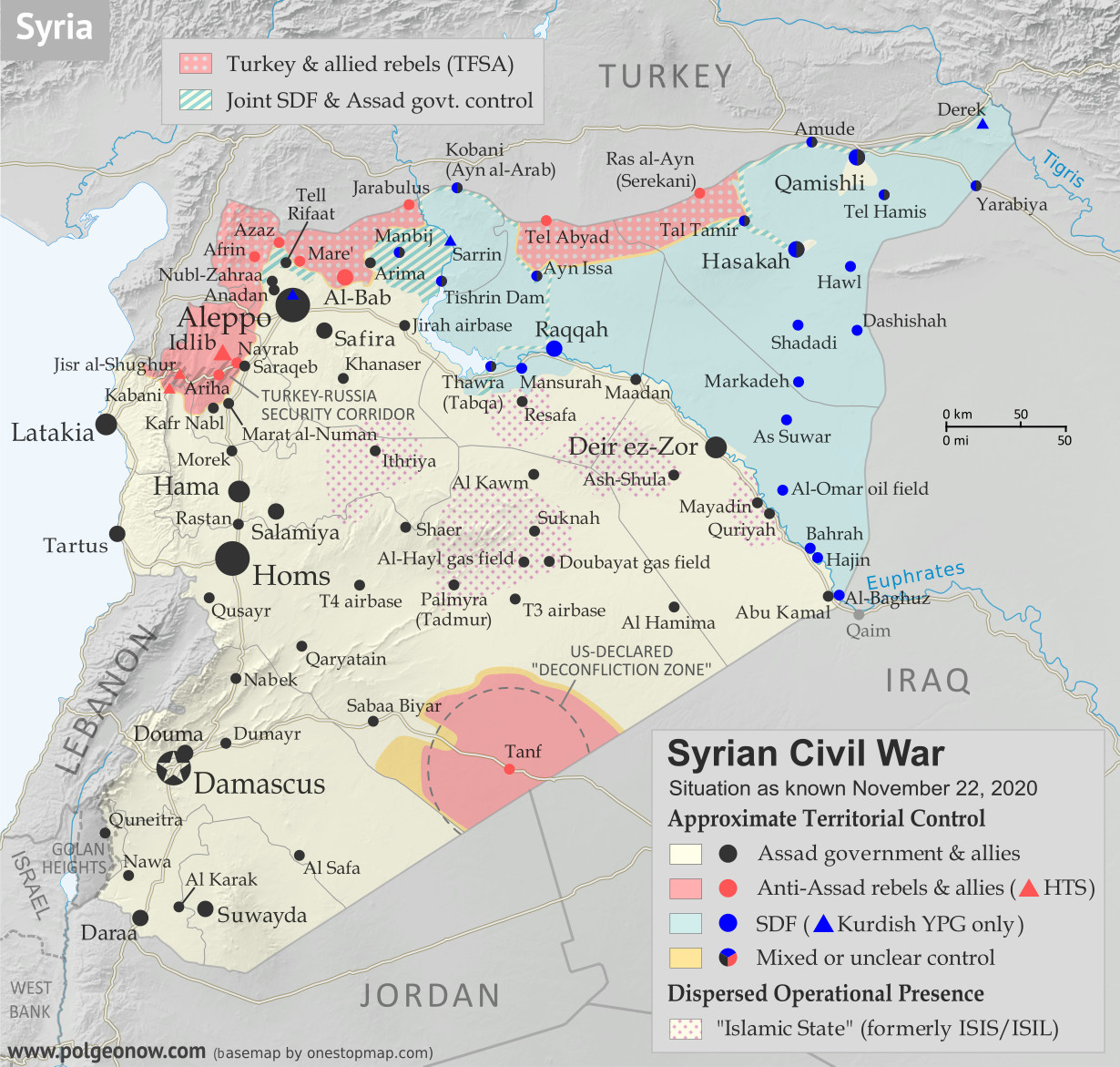 Syrian Civil War map: Territorial control in Syria in late November 2020 (Free Syrian Army rebels, Kurdish YPG, Syrian Democratic Forces (SDF), Hayat Tahrir al-Sham (HTS / Al-Nusra Front), and others). Includes areas of dispersed operational presence for so-called Islamic State (ISIS/ISIL), Turkish/TFSA control, joint SDF-Assad control, US deconfliction zone, and Turkey-Russia security corridor. Colorblind accessible.