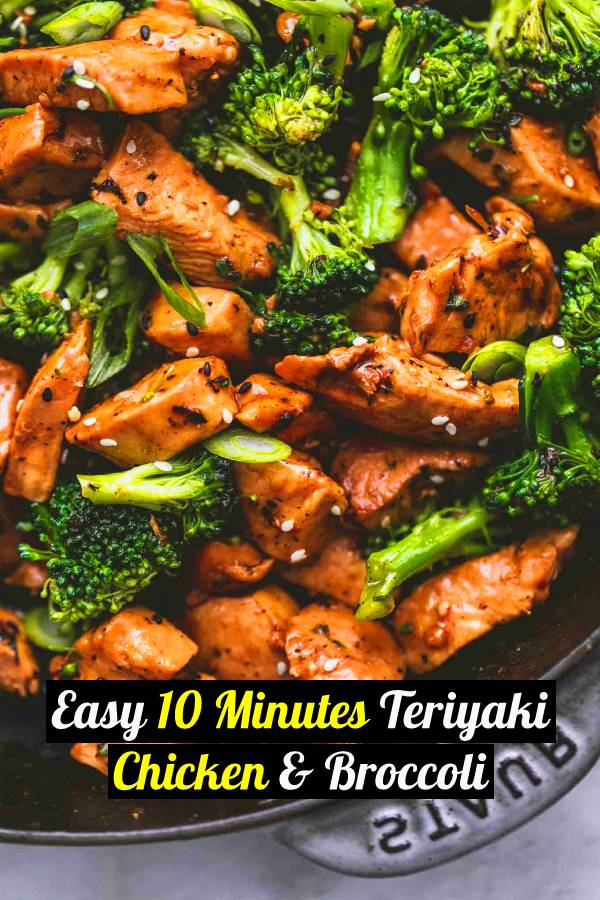 Quick & easy 10-minute Teriyaki Chicken & Broccoli. Juicy chicken in a homemade teriyaki sauce - SO yummy and perfect for takeout at home. An easy dinner recipe that is healthy, low carb, and delicious. Make for busier week nights or as meal prep to enjoy throughout your week! #chicken #dinner