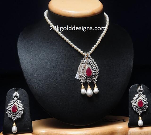 Diamond Pendant Set with Pearls Chain