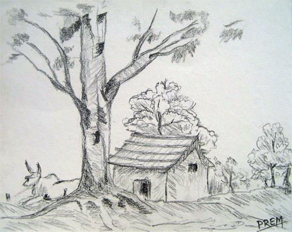 Art By Prem (•) Com: Easy House Landscape Drawings