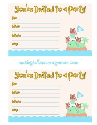 free animal crossing new horizons birthday invitations