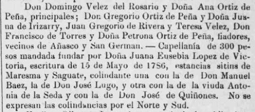 Francisco Torres Petrona Ortiz de Pena San German Puerto Rico