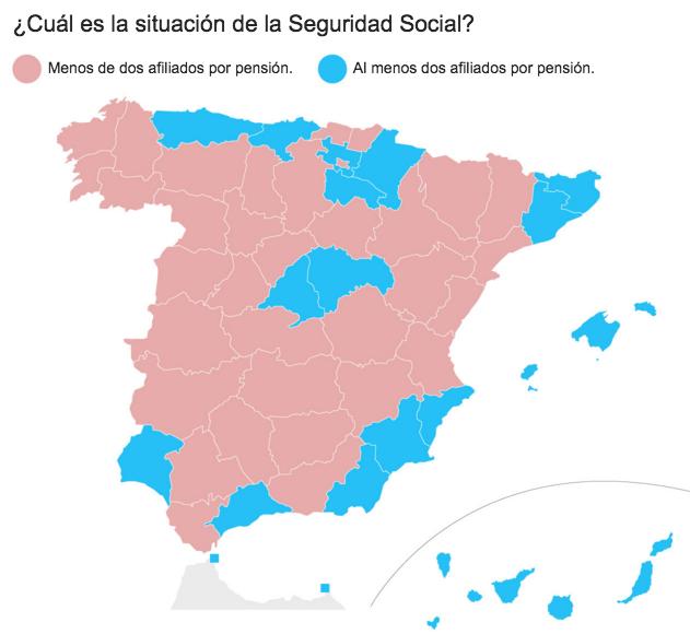 mapa España afiliados por pensionista