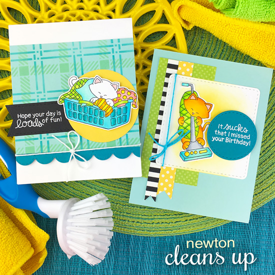 Cat Cards with Laundry and Vacuum by Jennifer Jackson | Newton Cleans Up Stamp Set by Newton's Nook Designs #newtonsnook #handmade