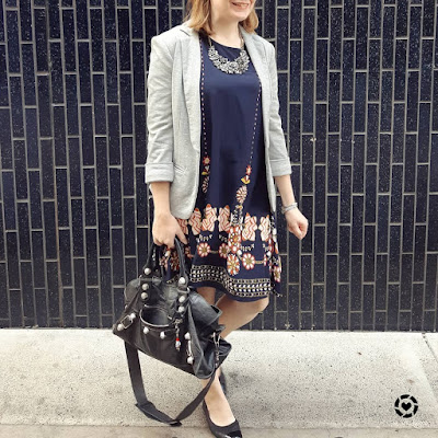 awayfromblue Instagram | Shein navy flower print flowy dress with jersey blazer black accessories balenciaga part time bag