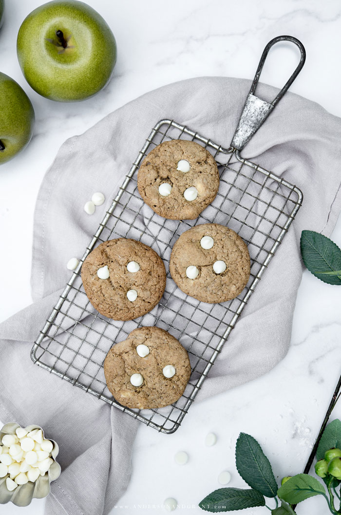 Apple Chocolate Chip Cookies on wire rack