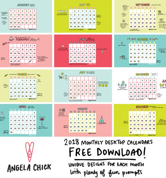 FREE January 2018 Calendar Download with Angela Chick