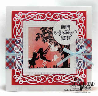 Our Daily Bread Designs Stamp Set: Sisters in Christ, Custom Dies: Flourishy Frame, Square, Pierced Circles, Paper Collection:Old Glory