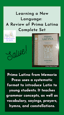 Prima Latina student workbook; text: Savle! Prima Latina from Memoria Press uses a systematic format to introduce Latin to young students. It teachers grammar concepts, as well as vocabulary, sayings, prayers, hymns, and constellations.