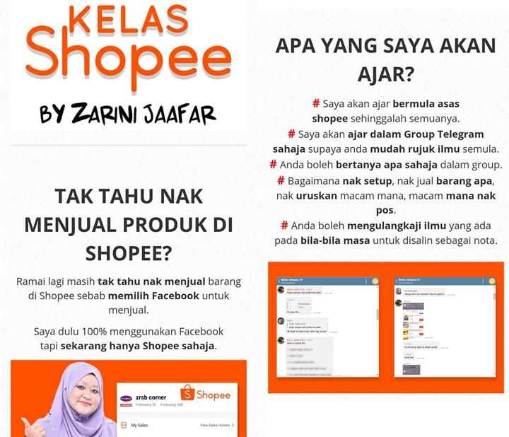 Kelas Online Belajar Berniaga di Shopee