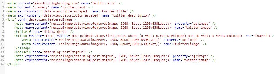 Thiết lập Thumbnail và mô tả của blogspot khi chia sẻ lên Twitter