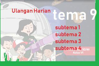 Download soal Ulangan harian Tema 9 Kelas 6